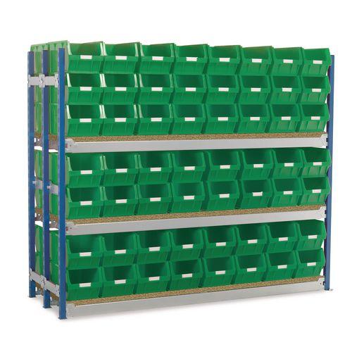Toprax Longspan H1500Xw1812Xd625mm-Double Extension Bay 112 Green Bins