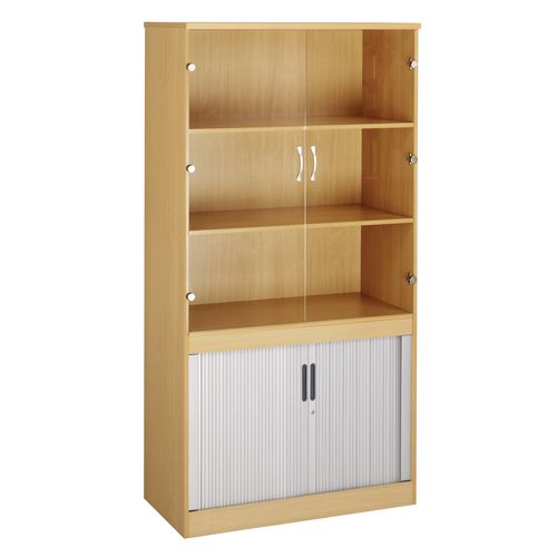 System Combination Bookcase With Horizontal Tambour &Glass Doors Beech HxWxD mm: 2000x1020x550