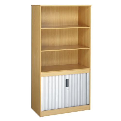 System Combination Bookcase With Horizontal Tambour Beech  HxWxD: 2000 X