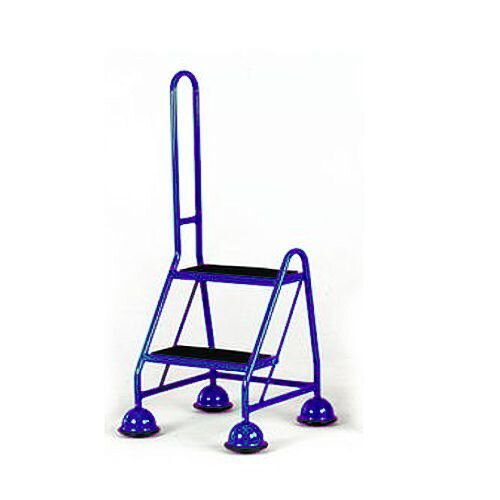 Cup Step With Slip Resistant Treads And Single Handrail 2 Tread In Blue Height 1.185m Capacity 125kg