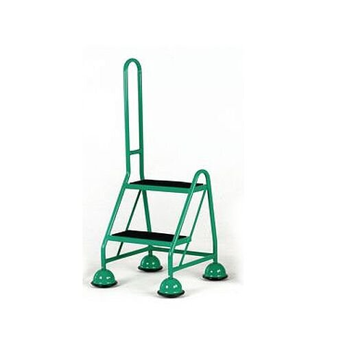 Cup Step With Slip Resistant Treads And Single Handrail 2 Tread In Green Height 1.185m Capacity 125kg
