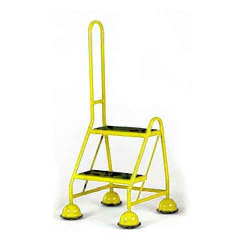Cup Step With Slip Resistant Treads And Single Handrail 2 Tread In Yellow Height 1.185m Capacity 125kg