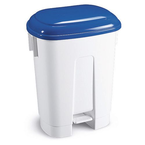 Derby 60Lt White Plastic Recycling Bin With Blue Lid