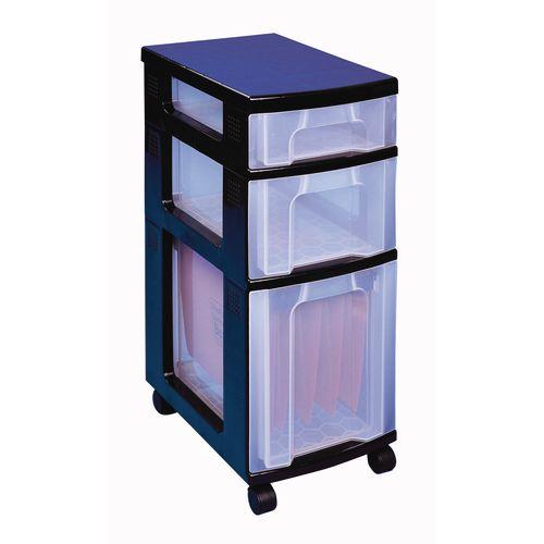 3 Drawer Unit With Castors Clear - Drawer Configuration: 1 x 7L, 1 x 12L, 1 x 25L