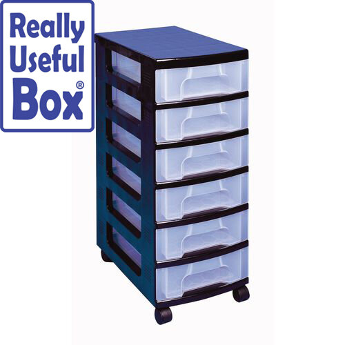 Draw Unit 6x7 Litre Black/Clear 6 Drawer With Castors