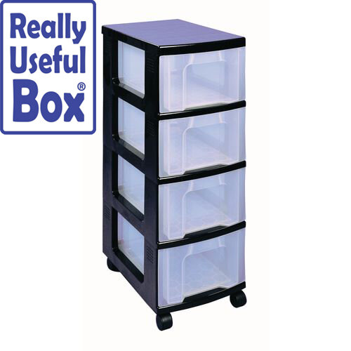 Draw Unit 4x12 Litre Black/Clear 4 Drawer Complete with Castors