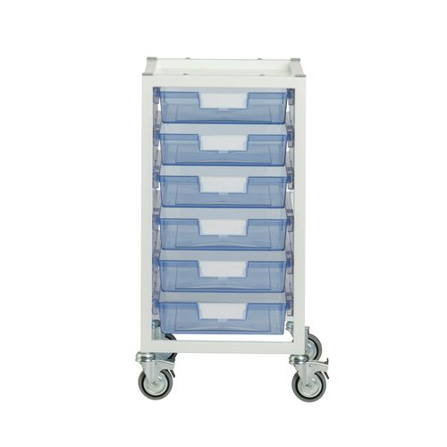 Storage Tray White Metal With 6X A4 Shallow Tinted Blue Trays