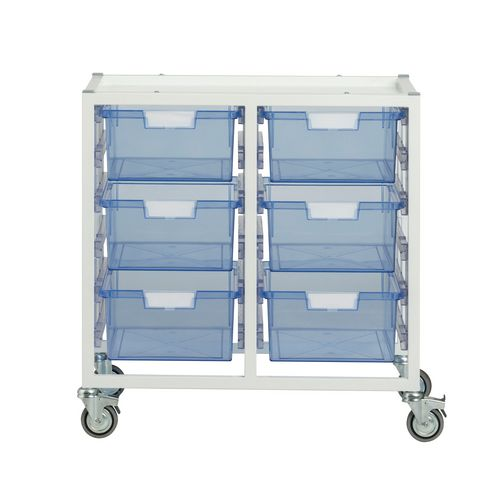 Storage Tray White Metal With 6X A4 Deep Tinted Blue Trays