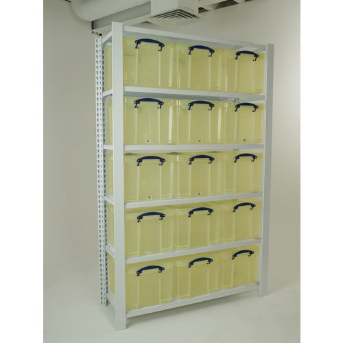 White Shelving With Yellow Transparent Boxes