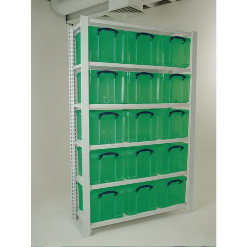 White Shelving With Green Transparent Boxes