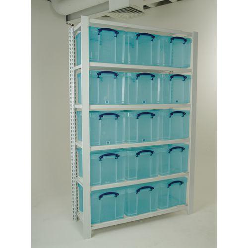 White Shelving With Aqua Transparent Boxes