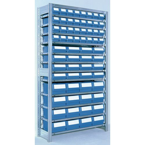 Shelving Starter Bay With Blue Rk Containers Bin Width mm: 117 Type 4 - 3 Bin Sizes Only 1 Dims Shown