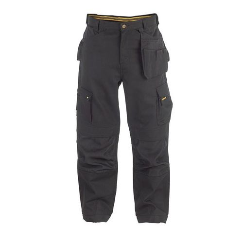 "Work Trousers With Knee Pad Pockets In Black  Short Leg 32"" Waist"