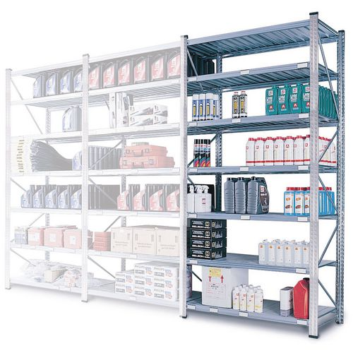 Zinc Plated Boltless Steel Shortspan Shelving Add-On Bay HxWxD 2500x900x500mm - 6 Shelf Levels, 185kg Shelf Capacity