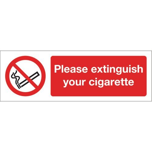 Sign Please Extinguish Your Cigarette 600x200 Vinyl