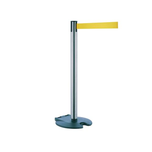Rollabarrier Post In Stainless Steel With 2.3M Yellow Webbing