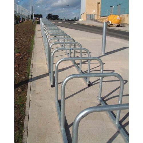Sheffield Style Toast Rack Flanged Galvanised Steel 16 Bike Capacity