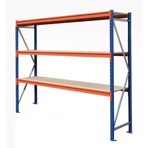 Heavy Duty Wide Span Shelving Starter Bay HxWxD 2500x1150x600mm - Boltless Design, 500kg Shelf Capacity, 3 Chipboard Decks, 6 Beams, 2 Supporting Frames, Safety Clips &Footplates Included