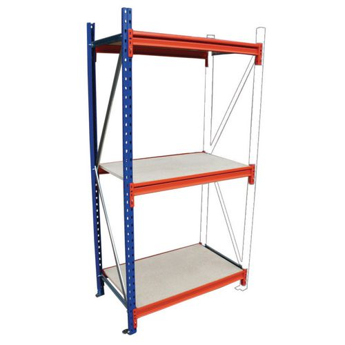 Heavy Duty Wide Span Shelving Add On Bay HxWxD 2500x1850x600mm - Boltless Design, 500kg Shelf Capacity, 3 Chipboard Decks, 6 Beams, 1 Supporting Frame, Safety Clips &Footplates Included