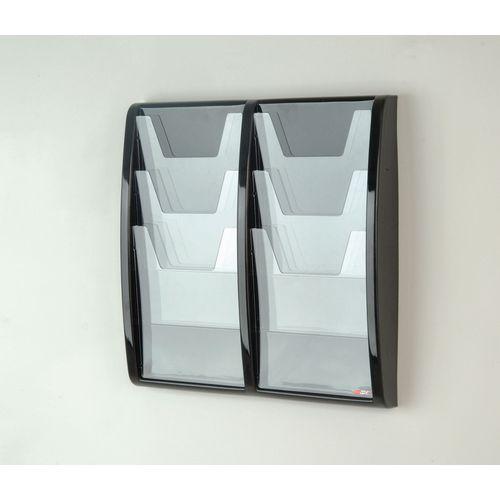 Panorama Wall Mounted Leaflet Dispenser 6xA4 Black