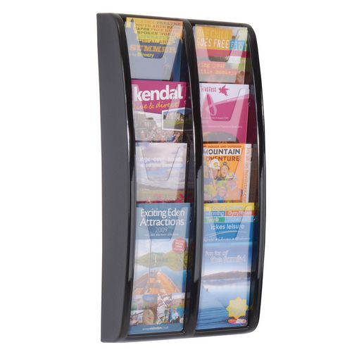 Panorama Wall Mounted Leaflet Dispenser 8 DL Size Pockets Black