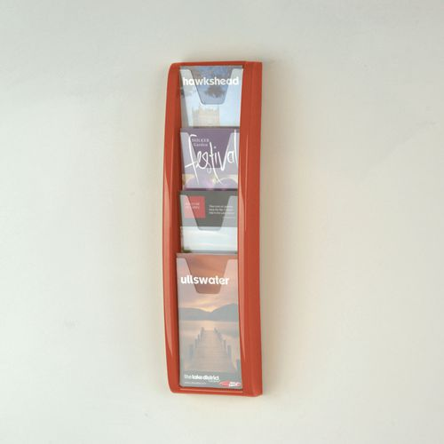 Panorama Wall Mounted Leaflet Dispenser 4 DL Size Pockets Red