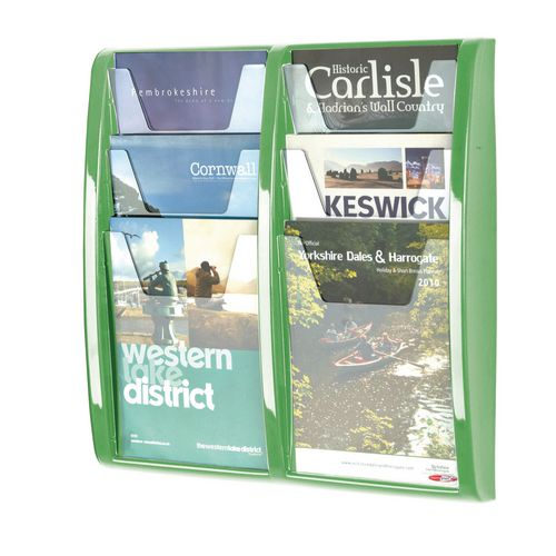Panorama Wall Mounted Leaflet Dispenser 6xA4 Green