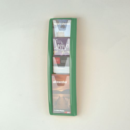 Panorama Wall Mounted Leaflet Dispenser 4 DL Size Pockets Green