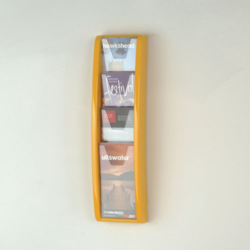 Panorama Wall Mounted Leaflet Dispenser 4 DL Size Pockets Yellow