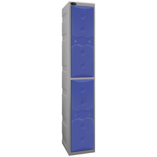 Ultrabox Plastic Locker 2 Door With Water Proof Cam Lock And 2 Keys Standard Duty Light Grey Body &Blue Doors