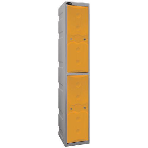 Ultrabox Plastic Locker 2 Door With Water Proof Cam Lock And 2 Keys Standard Duty Light Grey Body &Yellow Doors