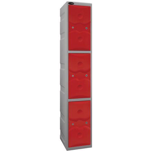 Ultrabox Plastic Locker 3 Door With Water Proof Cam Lock And 2 Keys Standard Duty Light Grey Body &Red Doors