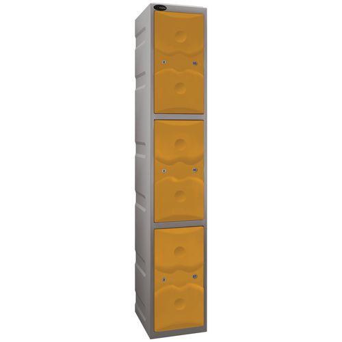 Ultrabox Plastic Locker 3 Door With Water Proof Cam Lock And 2 Keys Standard Duty Light Grey Body &Yellow Doors