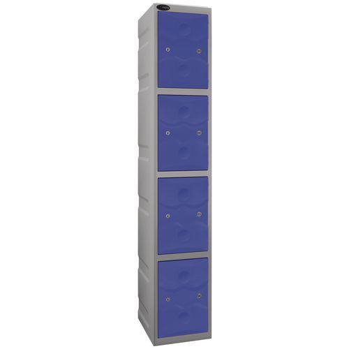 Ultrabox Plastic Locker 4 Door With Water Proof Cam Lock And 2 Keys Standard Duty Light Grey Body &Blue Doors