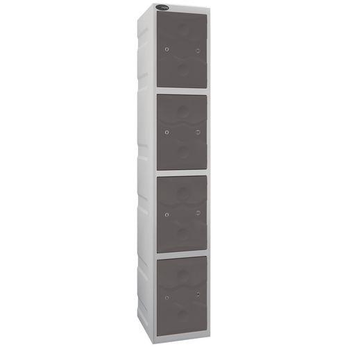 Ultrabox Plastic Locker 4 Door With Water Proof Cam Lock And 2 Keys Standard Duty Light Grey Body &Grey Doors
