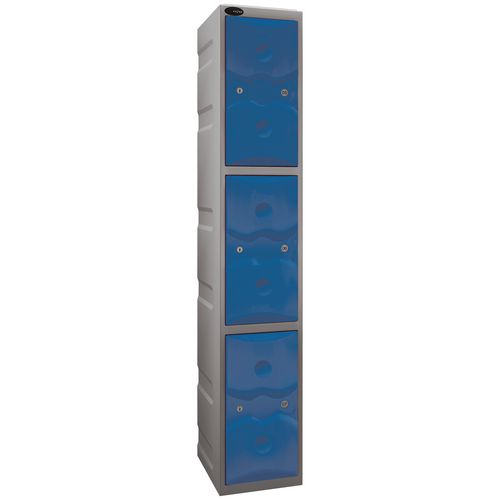 Ultrabox Plastic Locker 3 Door With Water Proof Cam Lock And 2 Keys Weather Duty Light Grey Body B
