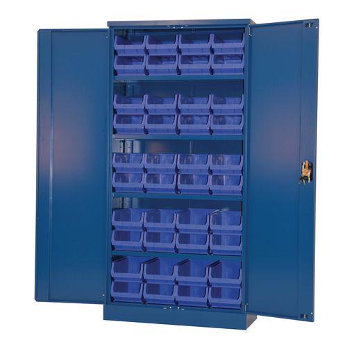 Blue Storage Cupboard And 40 Blue Bins