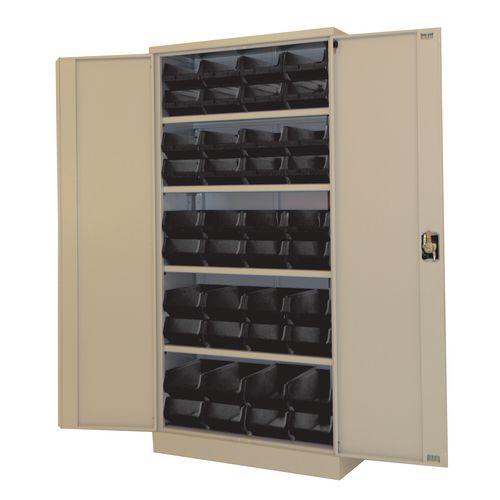 Grey Storage Cupboard And 40 Blue Bins
