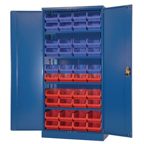 Blue Storage Cupboard With 20 Blue And 20 Red Bins