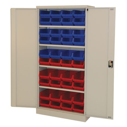 Grey Storage Cupboard With 20 Blue And 20 Red Bins