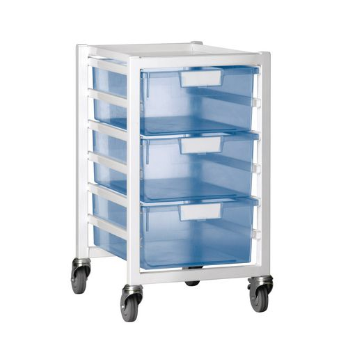 Tray Storage Unit 3 Deep Trays Tinted Blue A4 400X455X740 White Frame