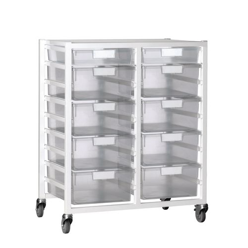 Tray Unit 10 Tray Clear A4 8 Deep+ 2 Shallow 750X455X1035 White Frame