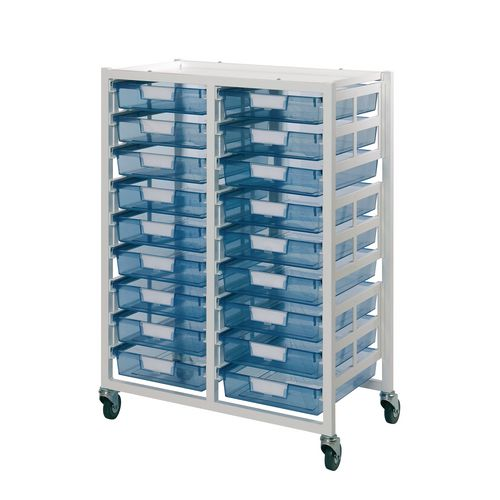 Tray Storage Unit 18 Tray Tinted Green A4 750X455X1035 White Frame