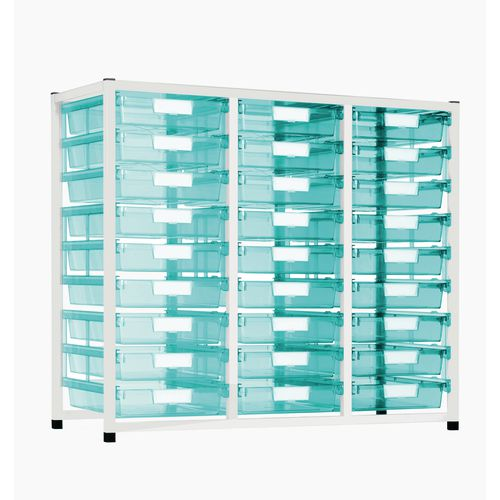 Static Tray Storage Unit 27 Trays Tinted Green A4 1100X455X990 White Frame