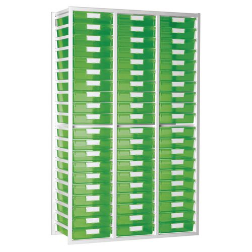 Static Tray Unit 54 Trays A4 Tinted Green 1080X455X1910 White Frame