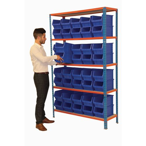 Boltless Steel Shelving With 40 Blue Small Parts Containers