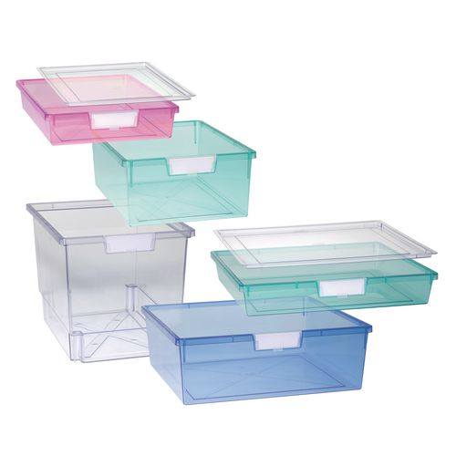 Plastic Storage Tray A3 Deep 469X425X157 Tinted Green Pack Of 6