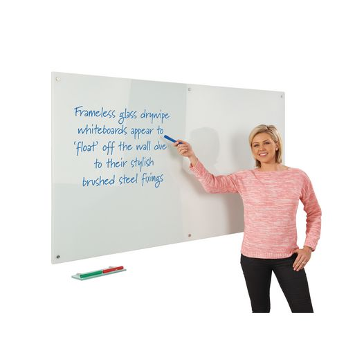 Write-On Magnetic Glass Whiteboard White H x W mm: 900 x 600