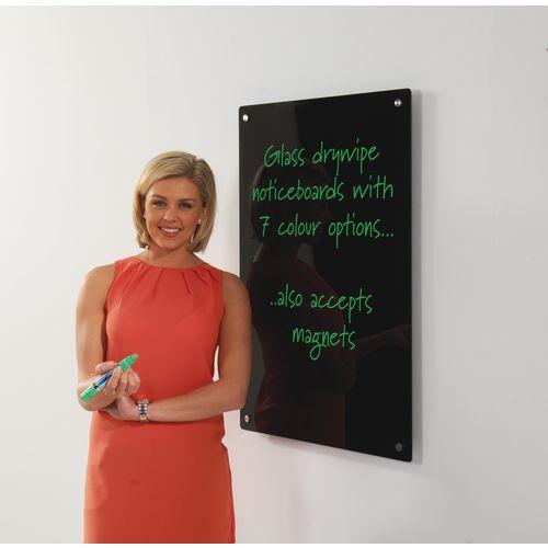 Write-On Magnetic Glass Whiteboard Black H x W mm: 900 x 600