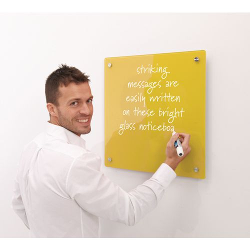 Write-On Magnetic Glass Whiteboard Yellow H x W mm: 500 x 500